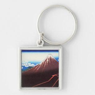 Nedanföra blixtar toppmötet Katsushika Hokusai Fyrkantig Silverfärgad Nyckelring