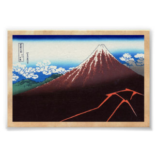 Nedanföra blixtar toppmötet Katsushika Hokusai Poster