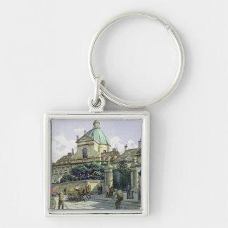 Nedanfört Belvedereslotten i Wien Fyrkantig Silverfärgad Nyckelring