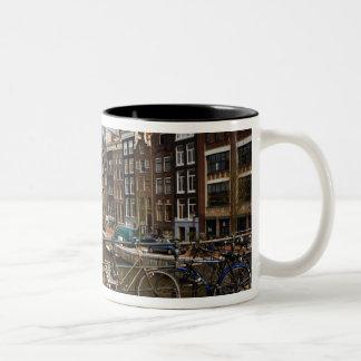 Nederländerna Amsterdam. Beskåda av kanalen från Två-Tonad Mugg