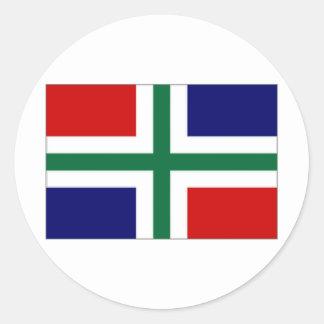 Nederländerna Groningen flagga Runt Klistermärke