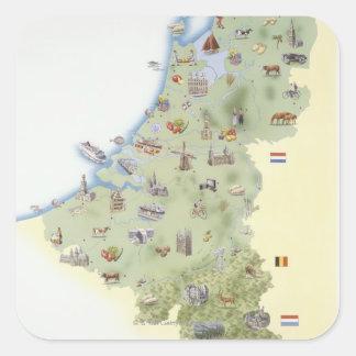 Nederländerna kartavisningkännetecken fyrkantigt klistermärke