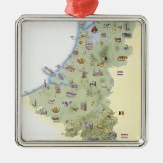 Nederländerna kartavisningkännetecken julgransprydnad metall