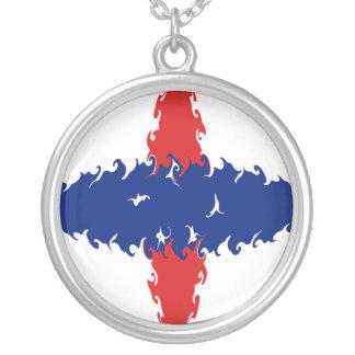 Nederländsk Antilles Gnarly flagga Halsband Med Rund Hängsmycke