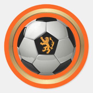 Nederländsk fotbollboll, holländskt lejont på runt klistermärke