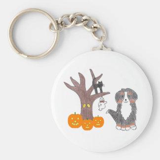 Nedgång Keychain för Bernese berghund Rund Nyckelring
