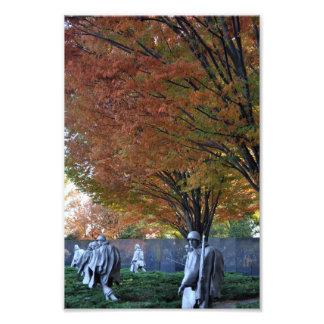 Nedgång på den koreanska minnesmärken fototryck