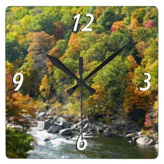 Nedgångfärg på den Ohiopyle delstatsparken Fyrkantig Klocka