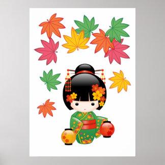 NedgångKokeshi docka - grön KimonoGeishaflicka Poster