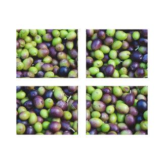 Nedgångskörd i Tuscany, oliv (uppsättningen av 4) Canvastryck