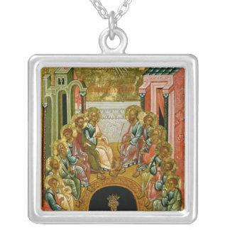 Nedstigningen av den heliga anden silverpläterat halsband