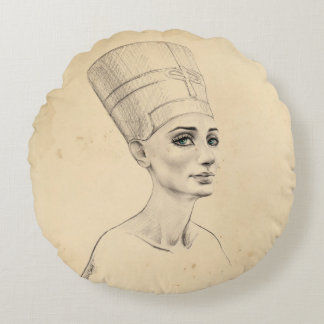 Nefertiti porträtt på forntida papyrusstruktur rund kudde
