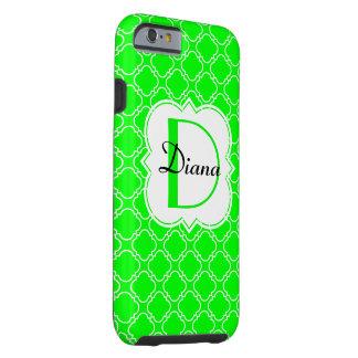 Neon Quatrefoil för personligMonogramgrönt Tough iPhone 6 Case