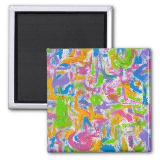 Neongrafitti - abstrakt konst magnet för kylskåp