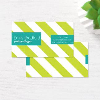 Neongrönt och randiga visitkortar för kricka visitkort