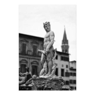 Neptunes staty, Florence, italien, stort tryck