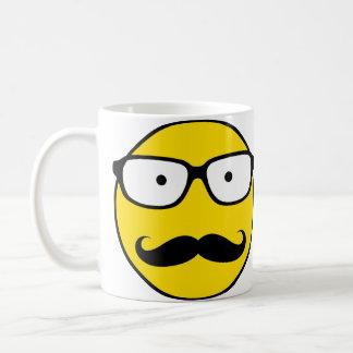 NerdSmiley mustasch Vit Mugg