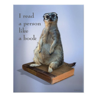 Nerdy hipster Meerkat, citationstecken Poster