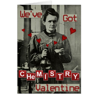Nerdy rolig valentin kemi för dagMarie Curie Hälsningskort