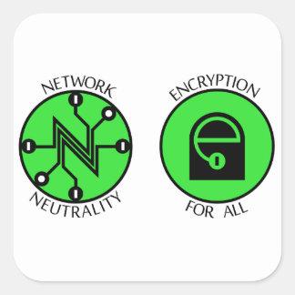 Netto neutralitet knäppas fyrkantigt klistermärke