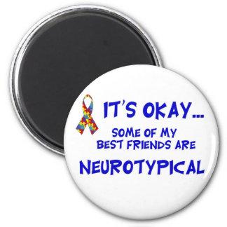 Neurotypical vänner magnet rund 5.7 cm