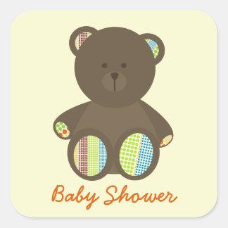 Neutral baby shower - Boho pricker den välfyllda Fyrkantigt Klistermärke