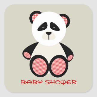 Neutral baby shower - röd GinghamPanda Fyrkantigt Klistermärke