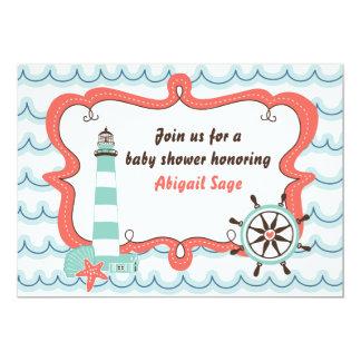Neutral baby showerinbjudan för nautisk fyr 12,7 x 17,8 cm inbjudningskort