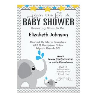 Neutral Mom & Baby Elephant Baby Shower Invitation 12,7 X 17,8 Cm Inbjudningskort