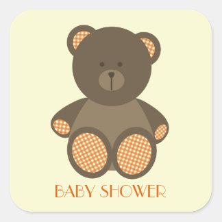 Neutral stoppad björn för baby shower orange Gingh Fyrkantiga Klistermärken