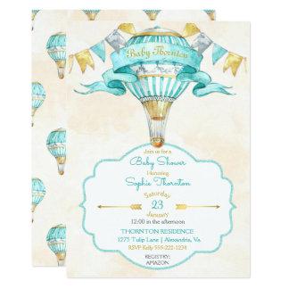 Neutralt för gender för luftballongturkos guld- 12,7 x 17,8 cm inbjudningskort