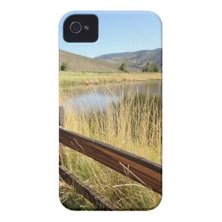 Nevada landskap med det wood staket, sjön, sky. iPhone 4 Case-Mate fodraler