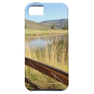 Nevada landskap med det wood staket, sjön, sky. iPhone 5 skydd