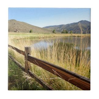 Nevada landskap med det wood staket, sjön, sky. kakelplatta