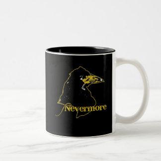 Nevermore med korpsvart av Edgar Allan Poe Två-Tonad Mugg