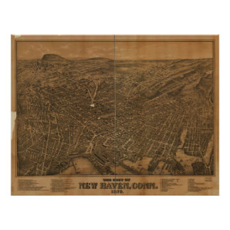 New Haven Connecticut 1879 panorama- karta Poster