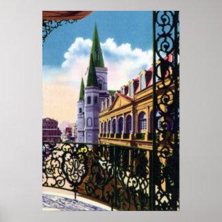 New Orleans Louisiana domkyrka och balkong Poster