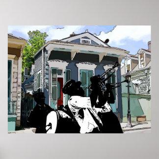 New Orleans pistolhus och mässingsmusikband Poster