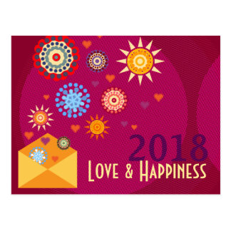 New Year Happiness greeting postcards Vykort