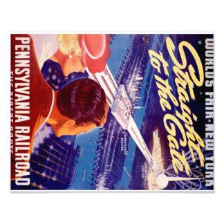 New York 1939 för vintagevärldsmässa affisch Fototryck