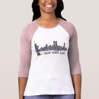 New York chic toppen mjuk Raglan Tshirts