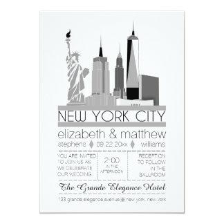 New York City horisontbröllop 12,7 X 17,8 Cm Inbjudningskort
