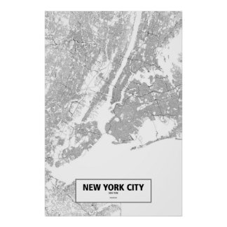 New York City New York (svarten på vit) Poster