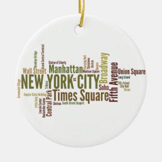 New York City prydnad Rund Julgransprydnad I Keramik