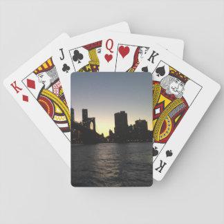 New York City solnedgång som leker kort Kortlek