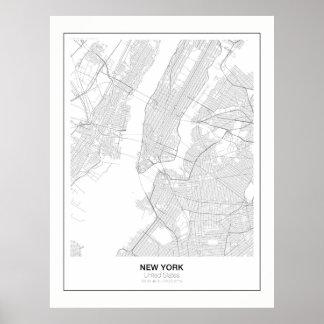 New York förser med marginal den Minimalist Poster