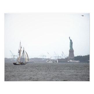 New York hamn i dimma Fototryck