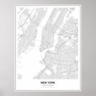 New York Minimalist kartaaffisch (stil 2) Poster