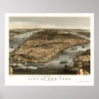 New York panorama- karta för NY - 1856 Poster