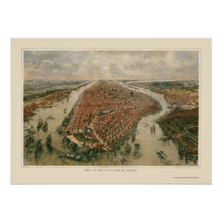 New York panorama- karta för NY - 1865 Poster